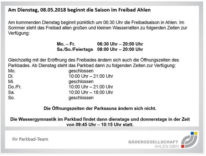 Am Dienstag, 08.05.2018 beginnt Freibadsaison in Ahlen.
